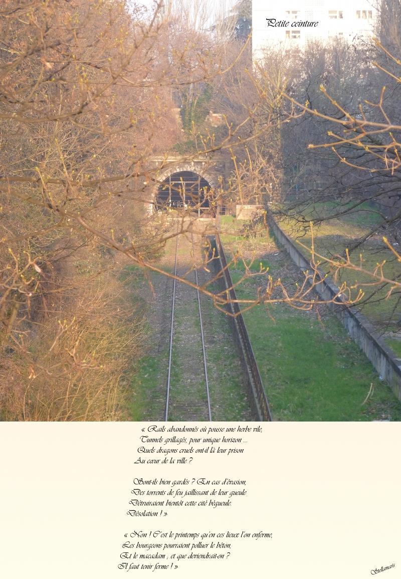 hPetite ceinture / / « Rails abandonnés où pousse une herbe vile, / Tunnels grillagés, pour unique horizon … / Quels dragons cruels ont-il là leur prison / Au cœur de la ville ? / / Sont-ils bien gardés ? En cas d'évasion, / Des torrents de feu jaillissant de leur gueule / Détruiraient bientôt cette cité bégueule. / Désolation ! » / / « Non ! C'est le printemps qu'en ces lieux l'on enferme, / Les bourgeons pourraient polluer le béton, / Et le macadam ; et que deviendrait-on ? / Il faut tenir ferme ! » / / Stellamaris